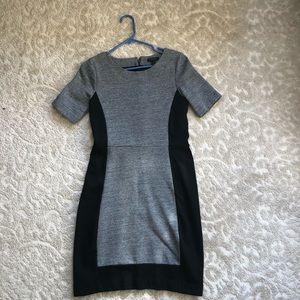 J. Crew paneled black and gray sheath dress
